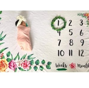 Floral baby Milestone Blanket/Throw